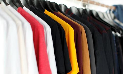 A rack of shirts.